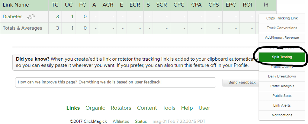 Setting Up A/B or Split Testing On Your ClickMagick